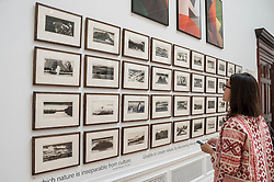 """© Licensed to London News Pictures. 03/06/2015. Piccadilly, London, UK. A visitor looks at """"Galapagos"""" by Norman Ackroyd RA, at the press preview of the Summer Exhibition at the Royal Academy of Arts.  Held annually since 1769, the event has become the largest open submission exhibition in the world, displaying works in a variety of mediums and genres by emerging and established contemporary artists.  From over 12,000 entries, works are selected and hung by Royal Academicians. Photo credit : Stephen Chung/LNP"""