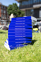 © Licensed to London News Pictures. 06/07/2016. London, UK. Volumes of  Sir John Chilcot's The Report of the Iraq Inquiry, on the day it is published. The Inquiry was predicated to take approximately one year, but has taken seven. Photo credit : Tom Nicholson/LNP