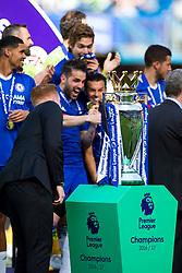 The trophy on its plinth as Chelsea celebrate winning the 2016/17 Premier League - Rogan Thomson/JMP - 21/05/2017 - FOOTBALL - Stamford Bridge - London, England - Chelsea v Sunderland - Premier League..