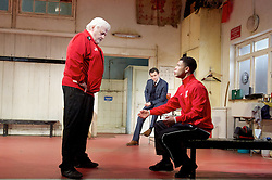 The Red Lion <br /> by Patrick Marber <br /> at the Dorfman Theatre, NT, Southbank, London, Great Britain <br /> press photocall <br /> 9th June 2015 <br /> Peter Wight as Yates<br /> Daniel Mays as Kidd<br /> Calvin Demba as Jordan <br /> <br /> <br /> <br /> Photograph by Elliott Franks <br /> Image licensed to Elliott Franks Photography Services