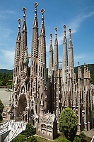 Sagrada Familia Replica at Tobu World Square - a theme park near Nikko and Kinugawa Onsen. The theme park boasts 42 exquisitely crafted scale models of famous UNESCO  Heritage Sites, complete  with 140,000 miniature people.  Along with the World Heritage Sites, more mundane buildings are Tokyo Station, Narita Airport and Tokyo Dome, along with show pavilions for various hokey performances.