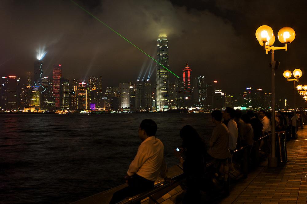 Hong Kong light show from Kowloon promenade