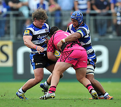 Nick Auterac and Leroy Houston of Bath Rugby tackle Jack Gilding of London Welsh - Photo mandatory by-line: Patrick Khachfe/JMP - Mobile: 07966 386802 13/09/2014 - SPORT - RUGBY UNION - Bath - The Recreation Ground - Bath Rugby v London Welsh - Aviva Premiership
