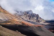 Views along the Keonehe'ehe'e (Sliding Sands) Trail in Haleakala National Park, Maui, Hawaii.