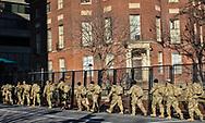 Millitary in Washington D.C. before Biden's innuguarion on Jan 18.