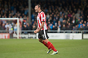 Lincoln City Forward Matt Rhead celebrates as he scores a gaol 1-0 during the EFL Sky Bet League 2 match between Lincoln City and Coventry City at Sincil Bank, Lincoln, United Kingdom on 18 November 2017. Photo by Craig Zadoroznyj.