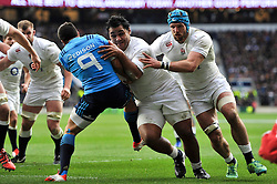 Billy Vunipola of England takes on Edoardo Gori of Italy on his way to the try-line - Photo mandatory by-line: Patrick Khachfe/JMP - Mobile: 07966 386802 14/02/2015 - SPORT - RUGBY UNION - London - Twickenham Stadium - England v Italy - Six Nations Championship