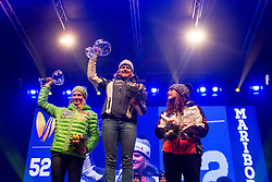 Second placed Ana Drev (SLO), winner Viktoria Rebensburg (GER) and third placed Tina Weirather (LIE) during medal ceremony after the 7th Ladies' Giant slalom at 52nd Golden Fox - Maribor of Audi FIS Ski World Cup 2015/16, on January 30, 2016 in Centre of Maribor, Slovenia. Photo by Vid Ponikvar / Sportida