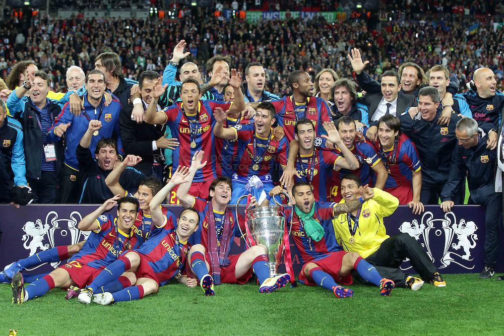 28-05-2011 VOETBAL: CHAMPIONS LEAGUE FINAL FC BARCELONA - MANCHESTER UNITED: LONDON<br /> Celebrating Barcelona<br /> ***NETHERLANDS ONLY***<br /> ©2011- FotoHoogendoorn.nl/EXPA/ InsideFoto/Paolo Nucci