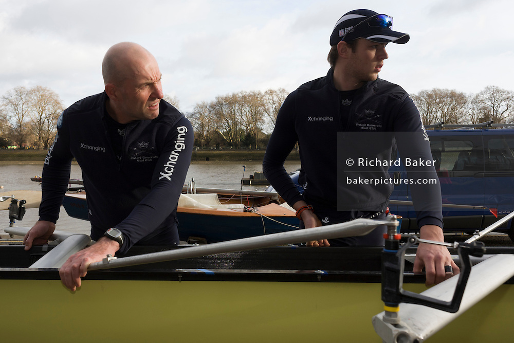 The Australian born Oxford University veteran rower James Ditzell with other team members, many of whom are only 19. At 45 James is currently the oldest ever rower in the history of the boat race. He trains with the rest of his squad on the Thames from Putney in West London under race conditions, hoping that as race day (April 6th 2012), his times are good enough for a seat in one of two of Oxford boats. First raced in 1829 the boat race between Oxford and Cambridge unbiversities is one of the oldest sporting events in the world. It is nowadays watched by thousands along the banks of The Thames Tideway, between Putney and Mortlake in London and by millions more on TV around the world.