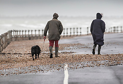 © Licensed to London News Pictures. 08/02/2019. Bognor Regis, UK. A couple walk their dog over shingle washed up on to the sea front path at Bognor Regis as the effects of Storm Erik are felt in the south of the UK. Photo credit: Peter Macdiarmid/LNP