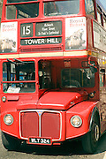 Close up of old Routemaster double decker bus number 15 to Tower Hill, London