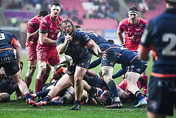 Pierre Schoeman of Edinburgh gets the ball away<br /> <br /> Photographer Craig Thomas/Replay Images<br /> <br /> Guinness PRO14 Round 11 - Scarlets v Edinburgh - Saturday 15th February 2020 - Parc y Scarlets - Llanelli<br /> <br /> World Copyright © Replay Images . All rights reserved. info@replayimages.co.uk - http://replayimages.co.uk