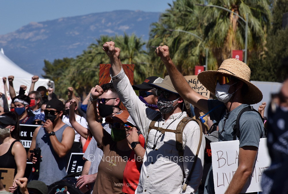 Thousands of demonstrators attend the Black Lives Matter Tucson: Celebration of Black Lives protest and demonstration to remember black people who were killed throughout the country by the police.  The protest took place on June 6, 2020, in Tucson, Arizona, USA.
