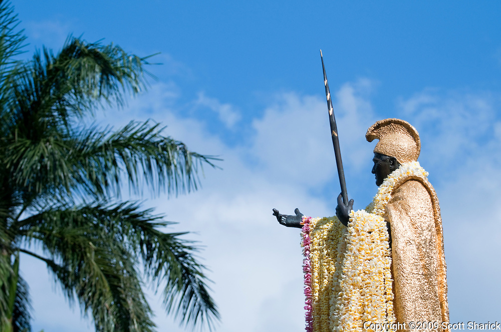 King Kamehameha Statue with long lei on Kamehameha Day in Hawaii.