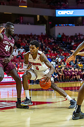 NORMAL, IL - November 10: Keith Fisher III goes inside defended by Ruot Monyyong during a college basketball game between the ISU Redbirds and the Little Rock Trojans on November 10 2019 at Redbird Arena in Normal, IL. (Photo by Alan Look)