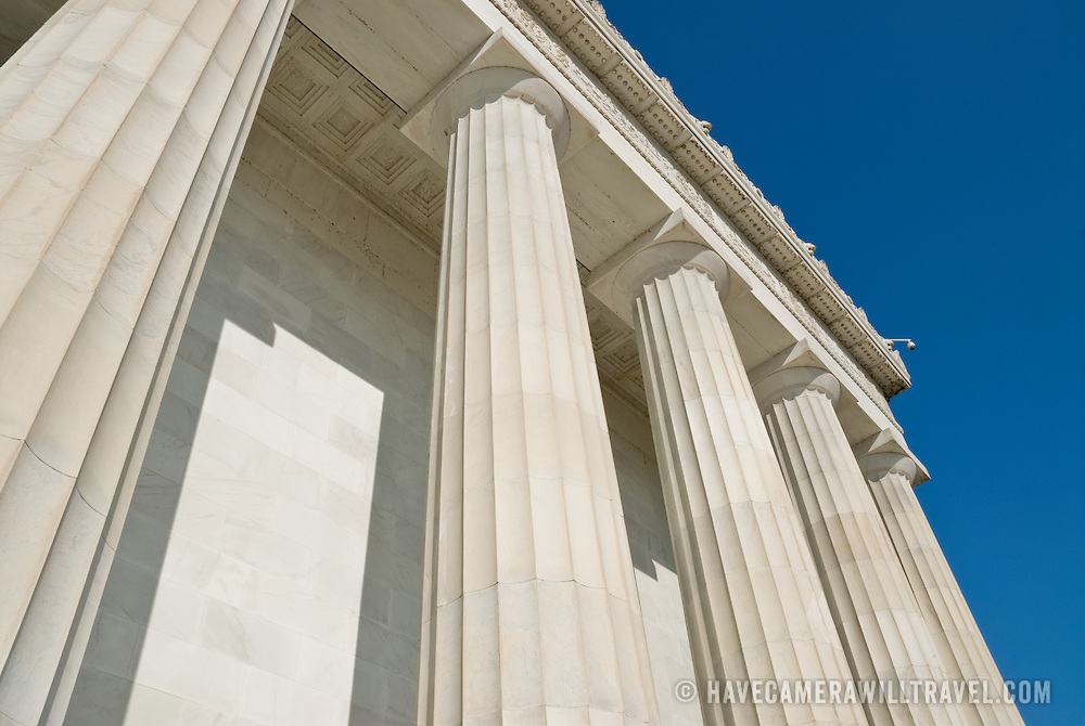 Columns of the Lincoln Memorial on the National Mall on a clear day