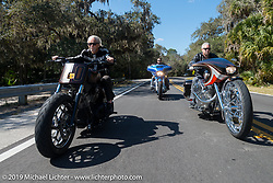 Arlen Ness riding through Tamoka State Park with son Cory and grandson Zach during the Daytona Bike Week 75th Anniversary event. FL, USA. Monday March 7, 2016.  Photography ©2016 Michael Lichter.