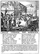 Protestants in the Netherlands being executed for heresy during Duke of Alva's repressive rule (1567-73). Copperplate engraving.