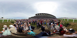 A 360 degree view as racegoers watch the Chesham Stakes race during day five of Royal Ascot at Ascot Racecourse. PRESS ASSOCIATION Photo. Picture date: Saturday June 23, 2018. See PA story RACING Ascot. Photo credit should read: John Walton/PA Wire. RESTRICTIONS: Use subject to restrictions. Editorial use only, no commercial or promotional use. No private sales.