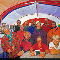 Staff at Adventure Network's Patriot Hills expediton base gather for a portrait