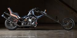 Aki Sakamoto's Hogkillers custom 1940 Harley-Davidson ULH Flathead in a heavily modified frame at the Handbuilt Show. Austin, TX. USA. Friday April 20, 2018. Photography ©2018 Michael Lichter.