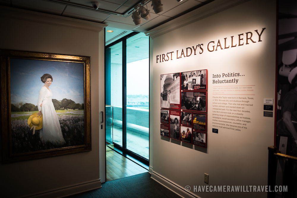 An exhibit devoted to Lady Bird Johnson at the LBJ Library. The LBJ Library and Museum (LBJ Presidnetial Library) is one of the 13 presidential libraries administered by the National Archives and Records Administration. It houses historical documents from Lyndon Johnson's presidency and political life as well as a museum.