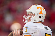 Nov 12, 2011; Fayetteville, AR, USA;  Tennessee Volunteers quarterback Nash Nance (7) looks to make a throw before the start of a game against the Arkansas Razorbacks at Donald W. Reynolds Razorback Stadium. Arkansas defeated Tennessee 49-7. Mandatory Credit: Beth Hall-US PRESSWIRE