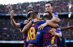 October 28, 2018 - Barcelona, Catalonia, Spain - Philippe Coutinho goal celebration during the match between FC Barcelona and Real Madrid CF, corresponding to the week 10 of the Liga Santander, played at the Camp Nou, on 28th October 2018, in Barcelona, Spain. (Credit Image: © Joan Valls/NurPhoto via ZUMA Press)