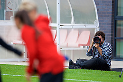NEWPORT, WALES - Tuesday, August 28, 2018: A photographer during a training session at Dragon Park ahead of the final FIFA Women's World Cup 2019 Qualifying Round Group 1 match against England. (Pic by David Rawcliffe/Propaganda)
