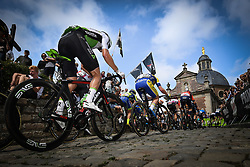 August 19, 2018 - Geraardsbergen, BELGIUM - Illustration picture shows the Muur Kapelmuur during the final stage of the Binkcbank Tour cycling race, 209,5 km from Lacs de l'Eau d'Heure to Geraardsbergen, Belgium, Sunday 19 August 2018. BELGA PHOTO DAVID STOCKMAN (Credit Image: © David Stockman/Belga via ZUMA Press)