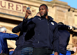 Wes Morgan, captain of Leicester City, takes pictures on his iPhone - Mandatory by-line: Robbie Stephenson/JMP - 16/05/2016 - FOOTBALL - Leicester City FC, Barclays Premier League Winners 2016 - Leicester City Victory Parade