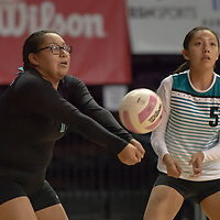 Eagles Tayiah Lewis (13) uses her forearms to defend the back line, as Cienna Harrison (5) watches. St. Michael's defeated Navajo Prep 3-0 at the Santa Ana Star Center in Rio Rancho on Friday.