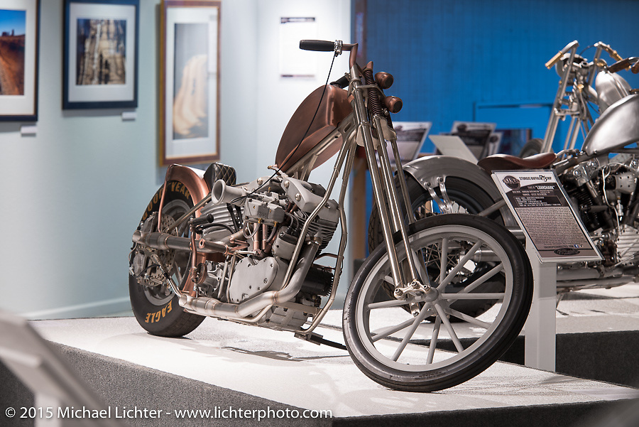 """Johnny Branch's custom Harlrey in Michael Lichter's Motorcycles as Art annual exhibition titled """"The Naked Truth"""" at the Buffalo Chip Gallery during the 75th Annual Sturgis Black Hills Motorcycle Rally.  SD, USA.  August 4, 2015.  Photography ©2015 Michael Lichter."""