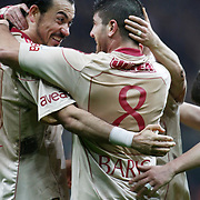Galatasaray's Servet CETIN (L) celebrate his goal with Baris OZBEK (R) during their Turkish Superleague soccer match Galatasaray between Sivasspor at the Turk Telekom Arena at Aslantepe in Istanbul Turkey on Sunday 23 January 2011. Photo by TURKPIX