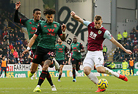 Burnley's Chris Wood sets himself to shoot despite the attentions of Aston Villa's Tyrone Mings<br /> <br /> Photographer Rich Linley/CameraSport<br /> <br /> The Premier League - Burnley v Aston Villa - Wednesday 1st January 2020 - Turf Moor - Burnley<br /> <br /> World Copyright © 2020 CameraSport. All rights reserved. 43 Linden Ave. Countesthorpe. Leicester. England. LE8 5PG - Tel: +44 (0) 116 277 4147 - admin@camerasport.com - www.camerasport.com