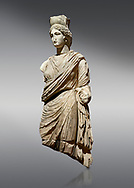 Roman statue of Tyche. Marble. Perge. 2nd century AD. Inv no 3062 . Antalya Archaeology Museum; Turkey. <br /> <br /> A Tyche; was the presiding tutelary deity who governed the fortune and prosperity of a city; its destiny. In Classical Greek mythology; she is the daughter of Aphrodite and Zeus or Hermes. .<br /> <br /> If you prefer to buy from our ALAMY STOCK LIBRARY page at https://www.alamy.com/portfolio/paul-williams-funkystock/greco-roman-sculptures.html . Type -    Antalya     - into LOWER SEARCH WITHIN GALLERY box - Refine search by adding a subject, place, background colour, museum etc.<br /> <br /> Visit our ROMAN WORLD PHOTO COLLECTIONS for more photos to download or buy as wall art prints https://funkystock.photoshelter.com/gallery-collection/The-Romans-Art-Artefacts-Antiquities-Historic-Sites-Pictures-Images/C0000r2uLJJo9_s0
