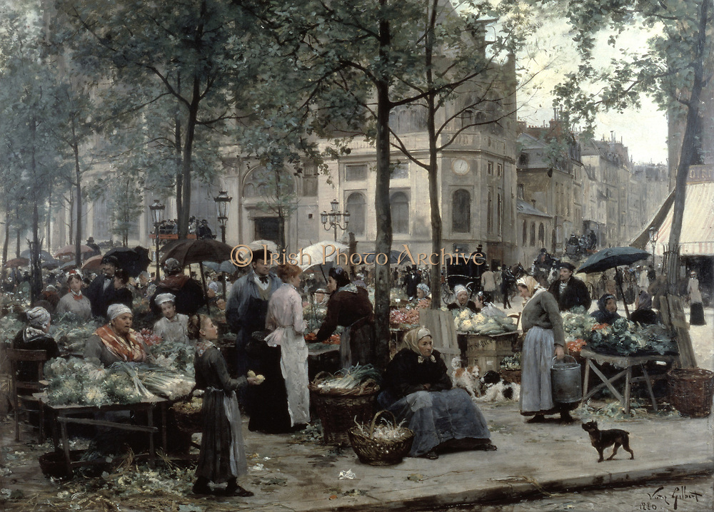 The Square in Front of Les Halles: Market women at their vegetable stalls. Victor Gabriel Gilbert (1847-1935) French painter. Les Halles' was for centuries the food market of Paris, but was moved out  to Rungis in 1969.