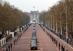 File photo dated 09/04/02 of the Queen Mother's coffin is driven back up the Mall from Westminster Abbey following her funeral service. The Queen mother's funeral was the last royal funeral to be extensively televised in the UK. Issue date: Friday April 16, 2021.