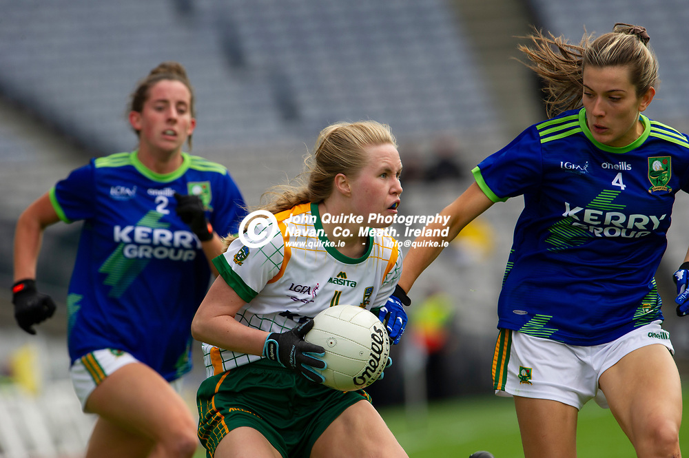 26-06-21. Meath v Kerry - Lidl Ladies National Football League Division 2 Final at Croke Park.<br /> Stacey Grimes , Meath in action against Ciara Murphy and Julie O'Sullivan, Kerry.<br /> Photo: John Quirke / www.quirke.ie<br /> ©John Quirke Photography, 16 Proudstown Road, Navan. Co. Meath. (info@quirke.ie / 046-9028461 / 087-2579454).