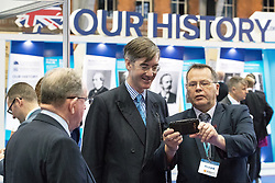 © Licensed to London News Pictures . 02/10/2017. Manchester, UK. JACOB REES-MOGG arrives at the conference and poses for a selfie with a delegate . The second day of the Conservative Party Conference at the Manchester Central Convention Centre . Photo credit: Joel Goodman/LNP