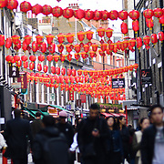 Chinese moon festival celebration in Chinatown London decorated with Chinese lanterns with Chinese music, food & drinks UK. 23 September 2018.