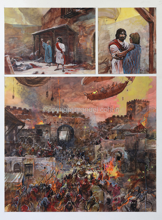 Storyboard design with Thorgal and Lehla and Bag Dadh under siege, page 36, plate 32 of Le Feu Ecarlate or the Scarlet Fire, Series 35 of the Thorgal comic book series, to be published November 2016, by Grzegorz Rosinski, 1941-, Polish comic book artist. Rosinski was born in Stalowa Wola, Poland, and now lives in Switzerland, and is the author and designer of many Polish comic book series. He created Thorgal with Belgian writer Jean Van Hamme. The series was first published in Tintin in 1977 and has been published by Le Lombard since 1980. The stories cover Norse mythology, Atlantean fantasy, science fiction, horror and adventure genres. Le Feu Ecarlate takes place in Bag Dadh, a city under siege by the Magnus force, where Thorgal must find Aniel and save him from the Red Wizards who made him the reincarnation of their Grand Master Kahaniel. Picture by Manuel Cohen / Further clearances requested, please contact us and/or visit www.lelombard.com
