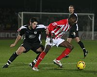 Photo: Mark Stephenson.<br />Cheltenham Town v Bristol City. Coca Cola League 1. 23/12/2006.<br />Cheltenham's Kayode Odejayi on the ball.