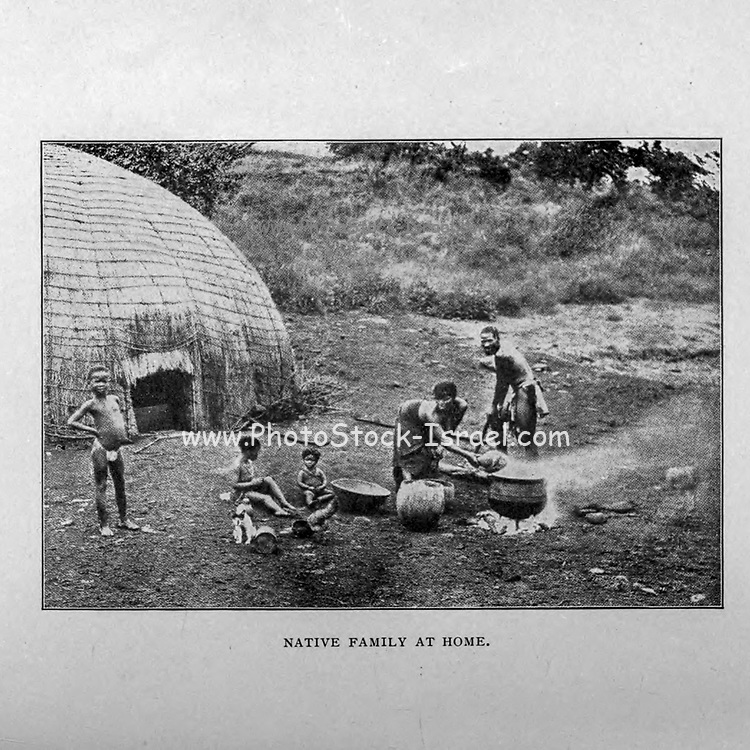 Native Family at Home from the book ' Boer and Britisher in South Africa; a history of the Boer-British war and the wars for United South Africa, together with biographies of the great men who made the history of South Africa ' By Neville, John Ormond Published by Thompson & Thomas, Chicago, USA in 1900