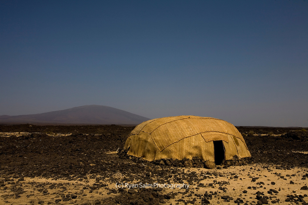 An Afar hut on the flanks of Irte'Ale Volcano in Ethiopia