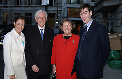 Left to right, The HON.ANNUNCIATA REES-MOGG, LORD & LADY REES-MOGG and The HON.JACOB REES-MOGG at the Conservative party Pre-Conference Season party hosted by Lord Saatchi and Lord Strathclyde and held at M&C Saatchi, 36 Golden Square, London W1 on 7th September 2004.