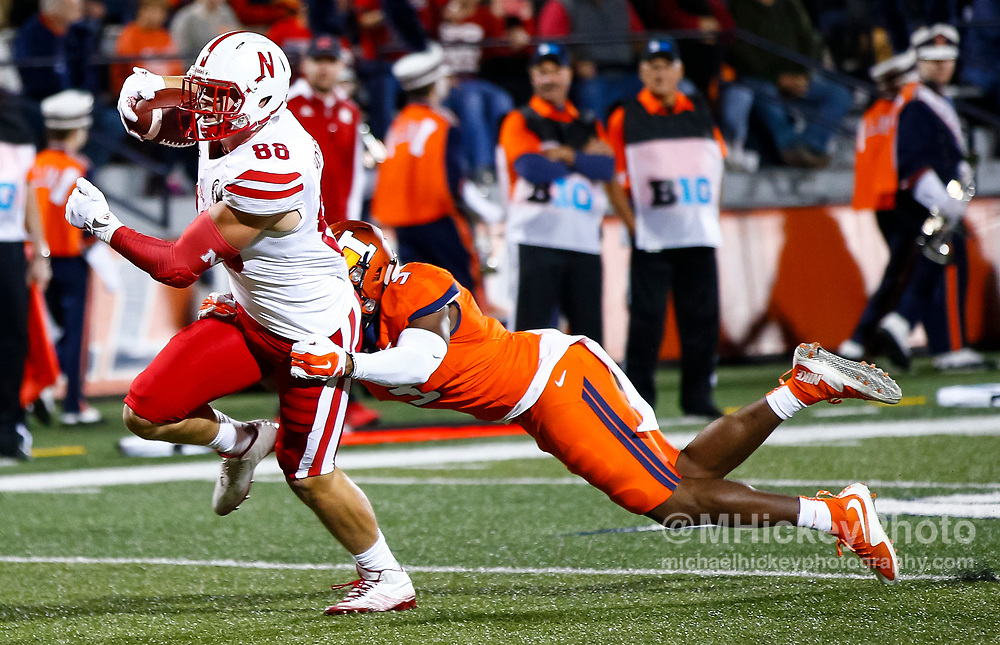 CHAMPAIGN, IL - SEPTEMBER 29: Tyler Hoppes #88 of the Nebraska Cornhuskers runs the ball for a touchdown as Del'Shawn Phillips #3 of the Illinois Fighting Illini tries to make the stop at Memorial Stadium on September 29, 2017 in Champaign, Illinois. (Photo by Michael Hickey/Getty Images) *** Local Caption *** Tyler Hoppes; Del'Shawn Phillips