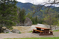 A Picnic Table at Bromley Rock Provincial Park near Princeton, British Columbia, Canada