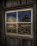 St. Michaels Lighthouse reflection in window
